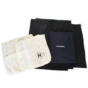 CHANEL CC 10 SET DRAWSTRING DUST BAG CANVAS BLACK